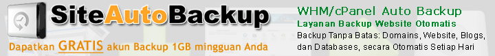 WHM/cPanel Auto Backup - Layanan Backup Website Otomatis - Dapatkan Gratis akun Backup 1GB mingguan Anda di SiteAutoBackup.com